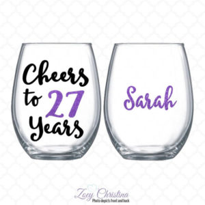27th birthday wine glass