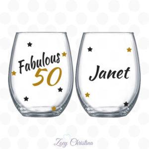 Fabulous 50 Wine Glass