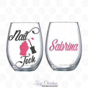 nail tech wine glass