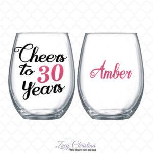 Personalized 30th Birthday Wine Glass