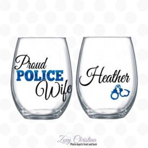 proud police wife wine glass