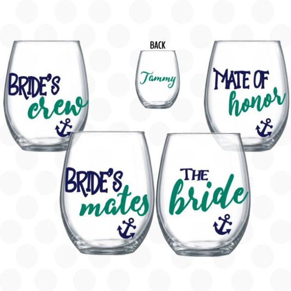bridesmates wine glasses